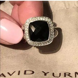 DAVID YURMAN BLACK ONYX DIAMONDS ALBION RING 14mm